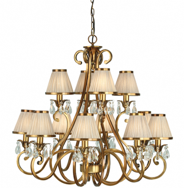 Oksana antique brass 12 light pendant & beige shades 40W
